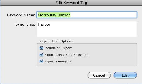 Keyword name highlighted in Lightroom