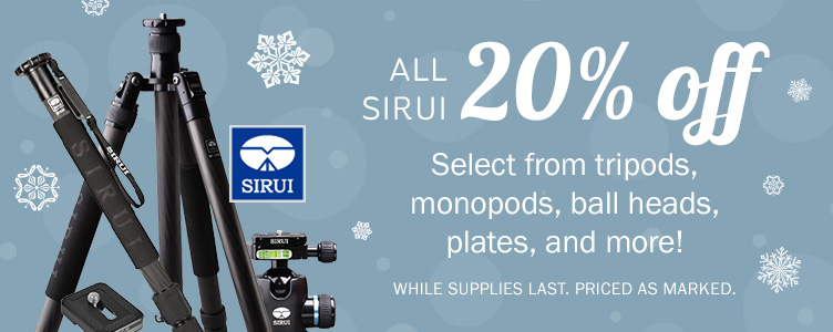 All Sirui 20% OFF! Select from tripods, monopods, ball heads, plates, and more! While supplies last. Priced as marked.