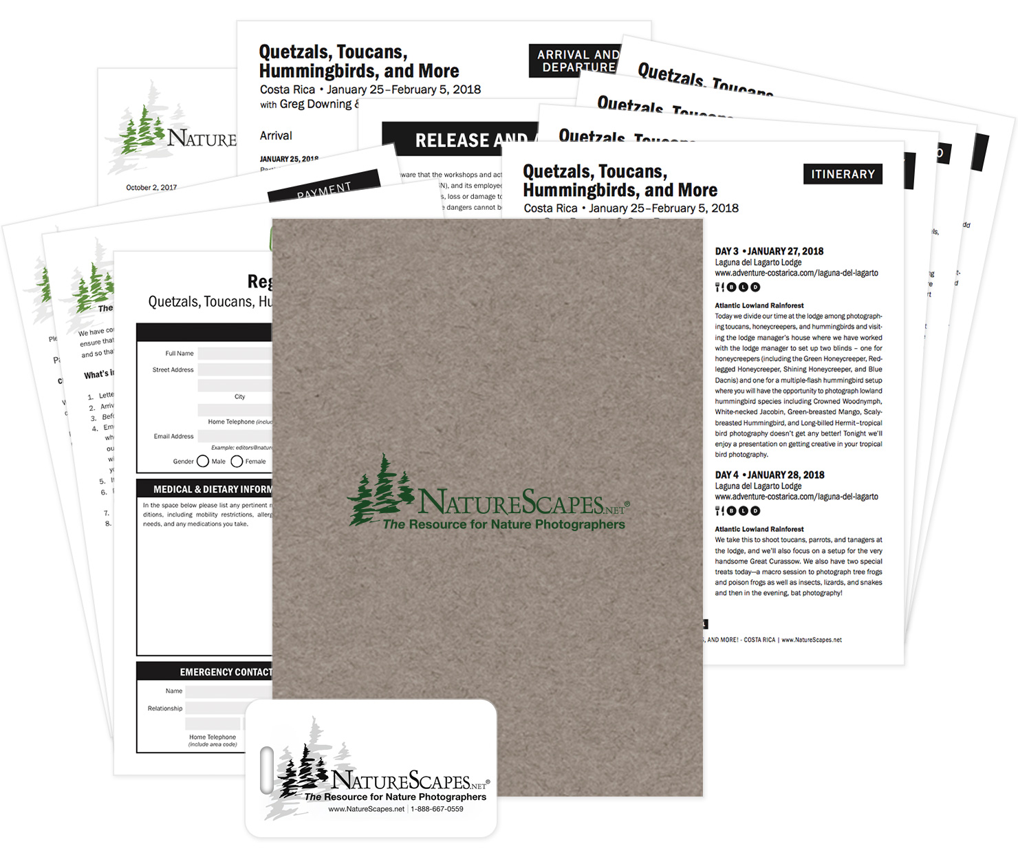NatureScapes.net Workshop and Tour welcome folder with printed information and luggage tag.